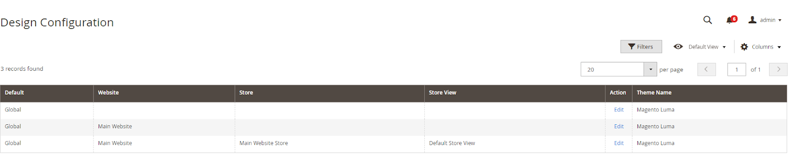 select the store view