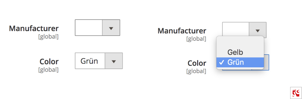 Attribute 'Color' in product edit page for DE storeview
