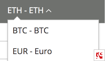 currencies selection