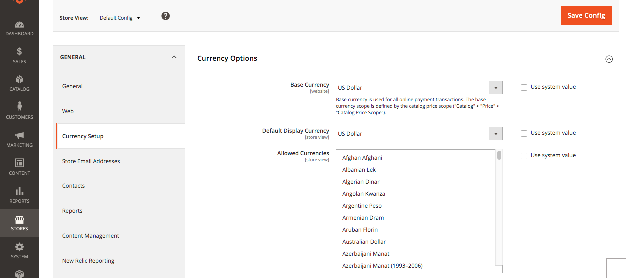 magento currency options