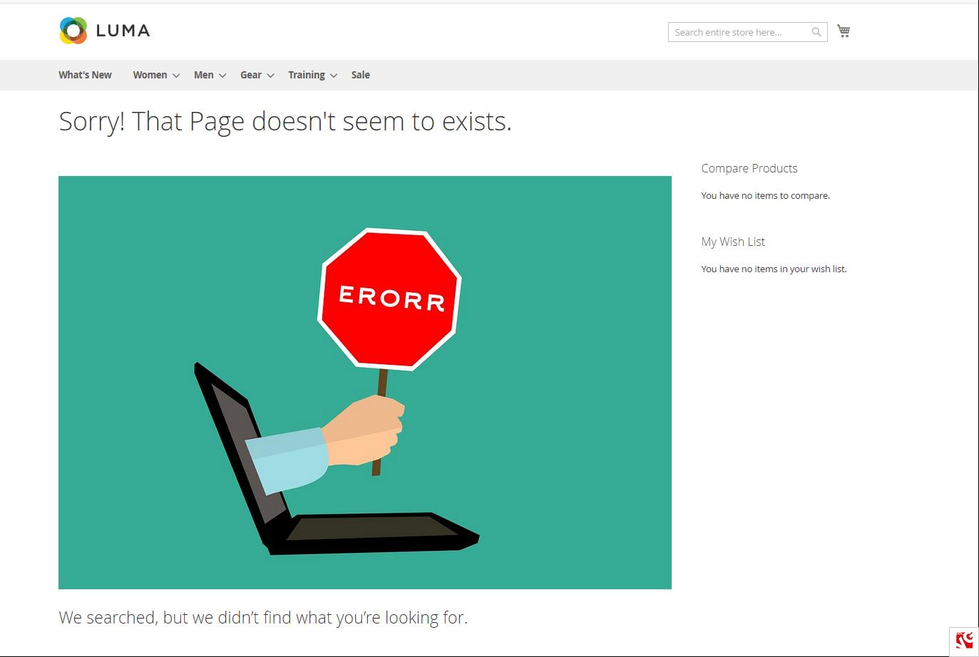 custom 404 page magento