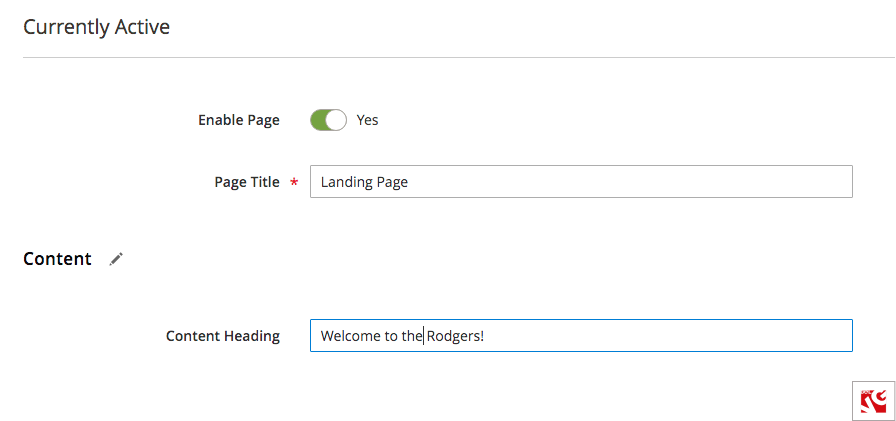 how to create a landing page in magento step 2