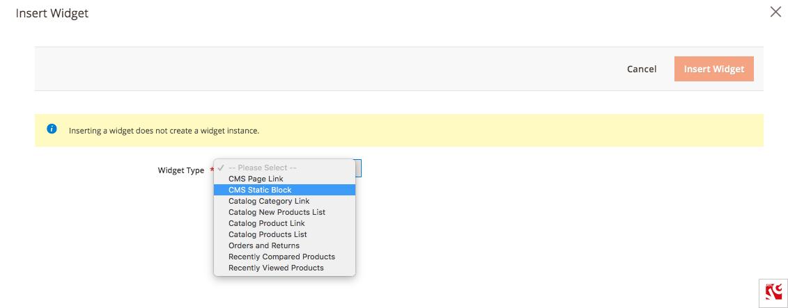 select widget type magento 404