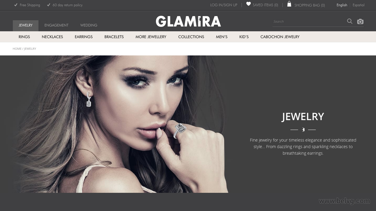 Magento Jewelry website homepage