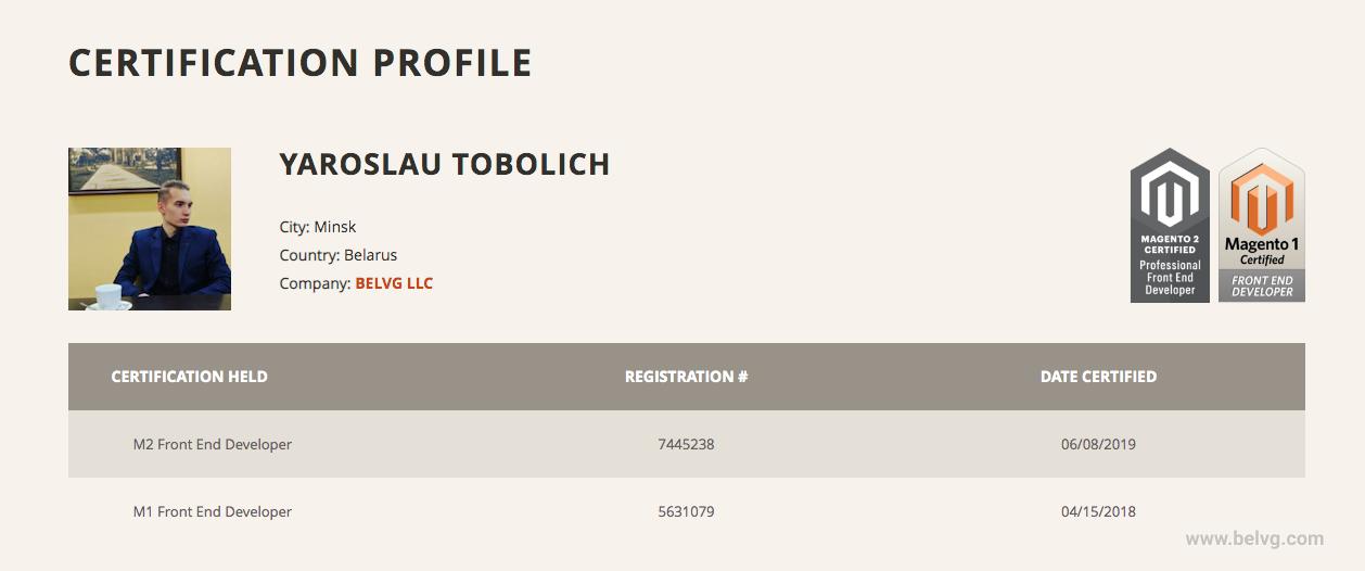 yaroslau certification