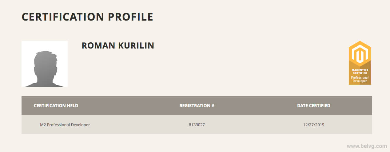 BelVG Roman Kurilin Magento Certification