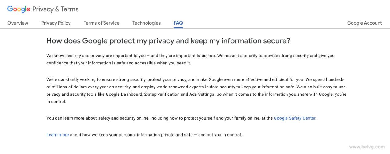 Google FAQ page