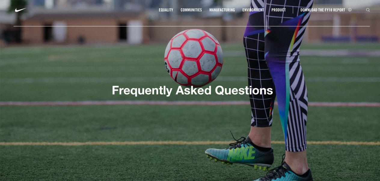 Nike FAQ page