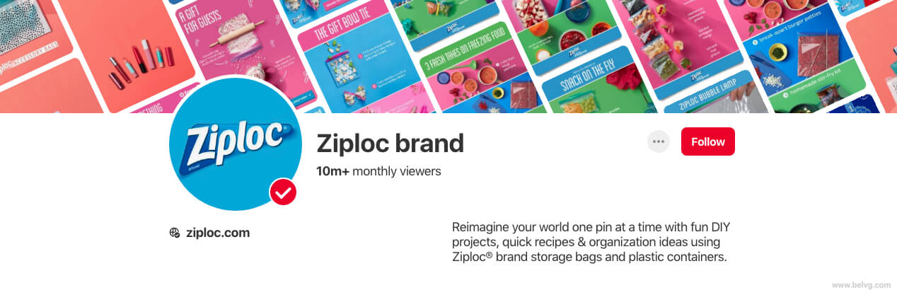 Pinterest business account Ziploc