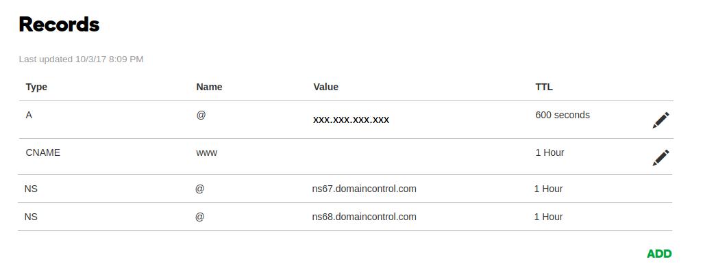 DNS record configuration