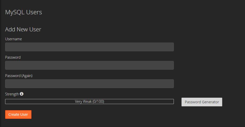 create a new MySQL user