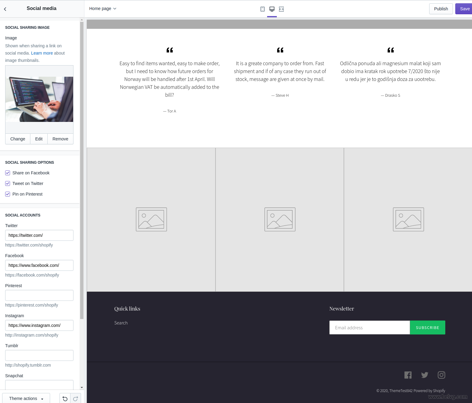 how to edit shopify theme - social networks