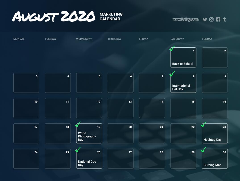 August retail calendar - marketing