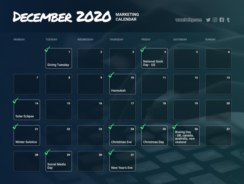 December retail calendar - marketing