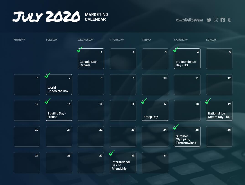 July retail calendar - marketing