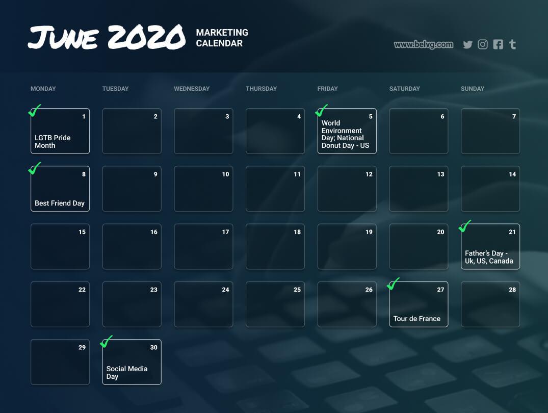 June retail calendar - marketing