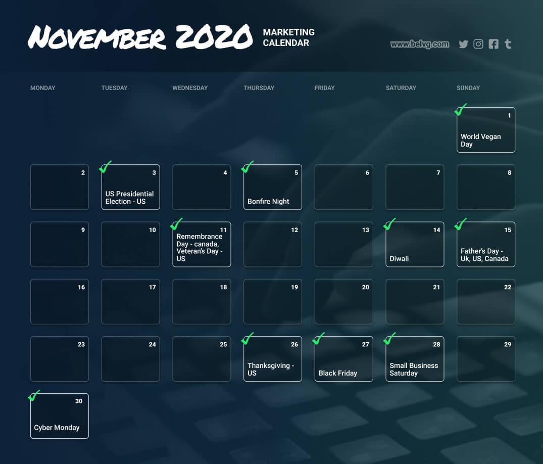 November retail calendar marketing