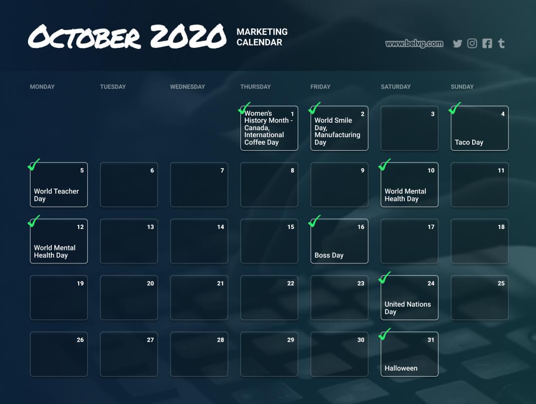 October retail calendar marketing