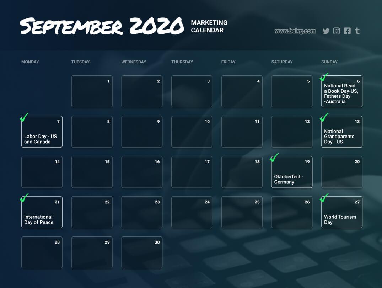 September retail calendar marketing