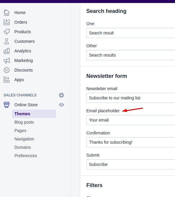 how to remove powered by shopify from footer newsletter configuration