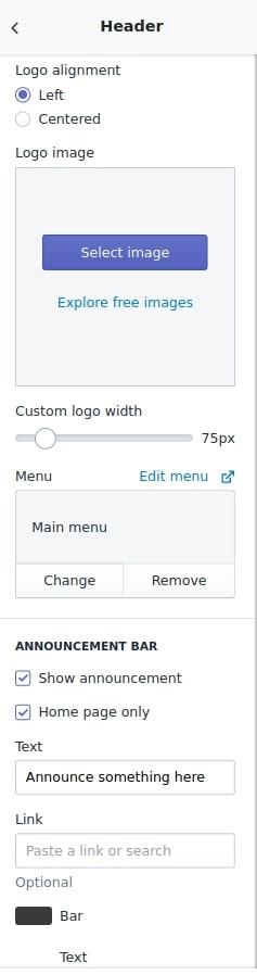 header in shopify customization
