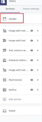 shopify header bar configuration