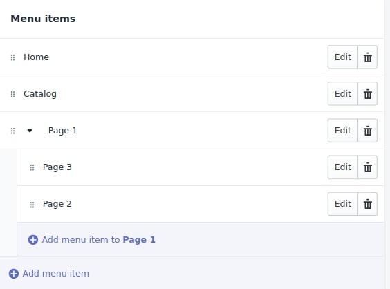 shopify header menu creating