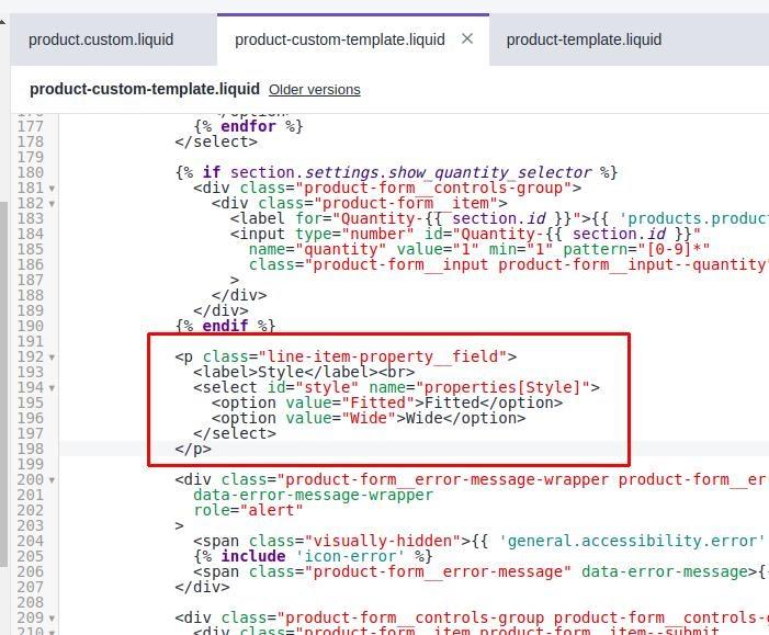 Shopify variantes opciones personalizadas